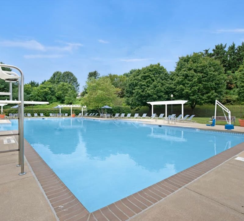 Sparkling swimming pool at Ridgeview at Wakefield Valley in Westminster, Maryland