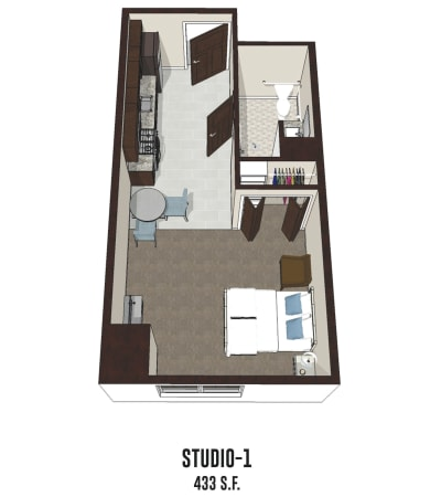 Independent living Studio 1 is 433 square feet at Hilliard in Hilliard, Ohio.
