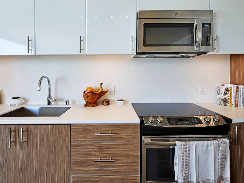 Modern kitchen at Rooster Apartments in Seattle, Washington