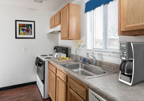 Bright, open kitchen at Brockport Crossings Apartments & Townhomes in Brockport, New York