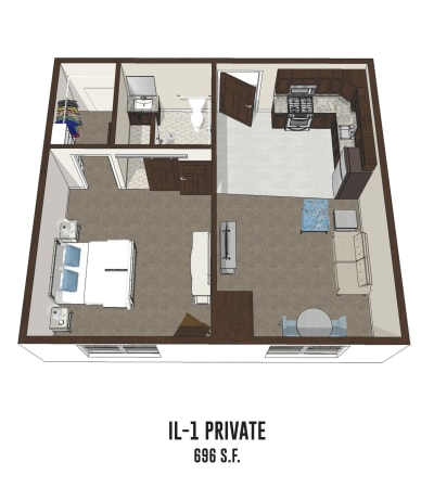 Independent living private room 1 is 696 square feet at Gahanna in Columbus, Ohio.