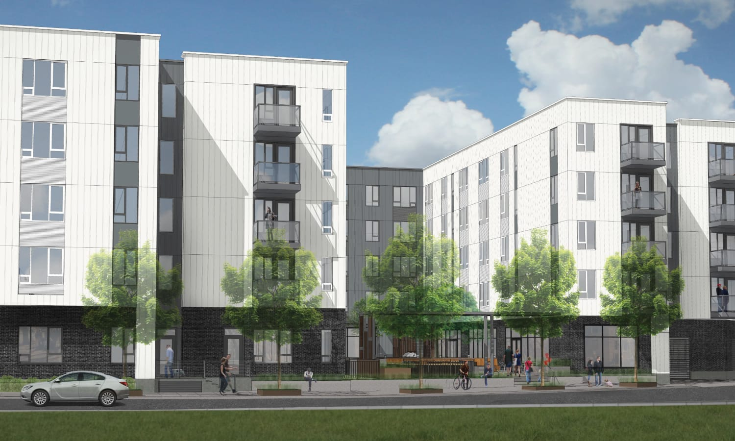Exterior rendering of ground-level view at Grant Park Village - Quimby from the south facing courtyard in Portland, OR