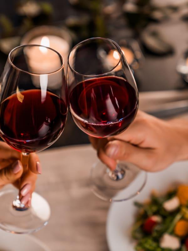 Residents chatting over wine near The Aeronaut in Weymouth, Massachusetts