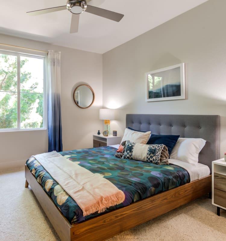 Spacious master bedroom in model home's bedroom at Sofi Shadowridge in Vista, California