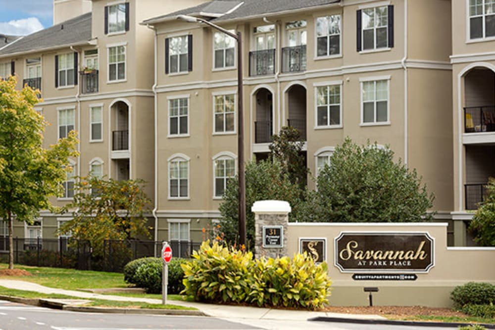 Exterior of Savannah at Park Place apartments, owned by TriBridge Residential in Atlanta, Georgia