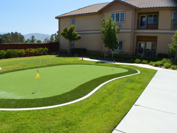 Putting green at The Lakes at Banning in Banning, California.