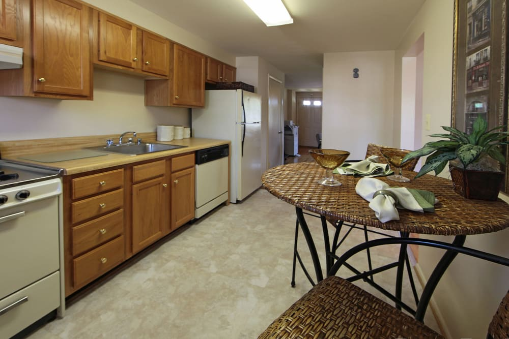 Kitchen space at Foxridge Townhomes in Essex, Maryland