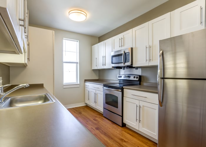 Updated kitchen at Rosemont Square Apartments in Randolph