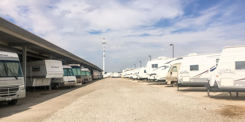 RV, boat, and auto parking at StorQuest RV and Boat Storage in Moreno Valley, California