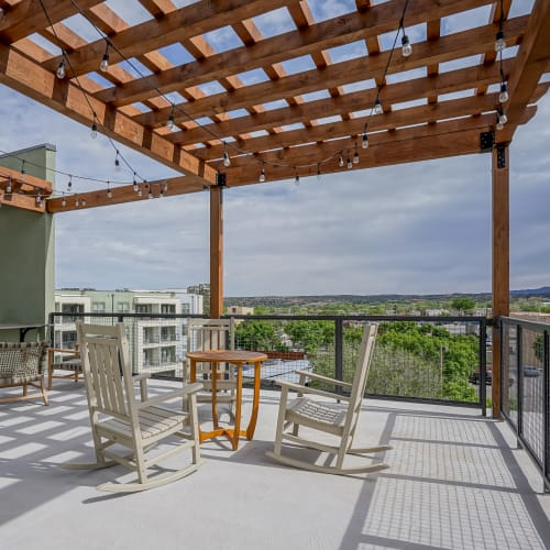 Community deck with gorgeous views at Capitol Flats in Santa Fe, New Mexico