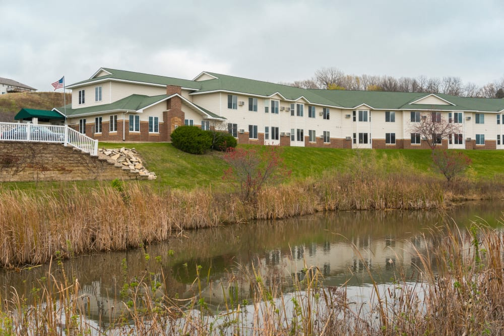 Exterior view of apartment buildings at Meadow Lakes Senior Living in Rochester, Minnesota.