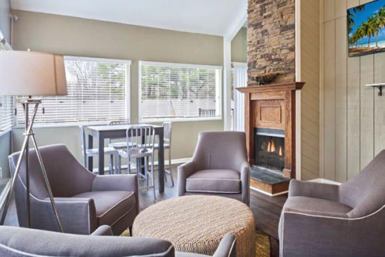 Social lounge area at The Flats at Arrowood in Charlotte, North Carolina