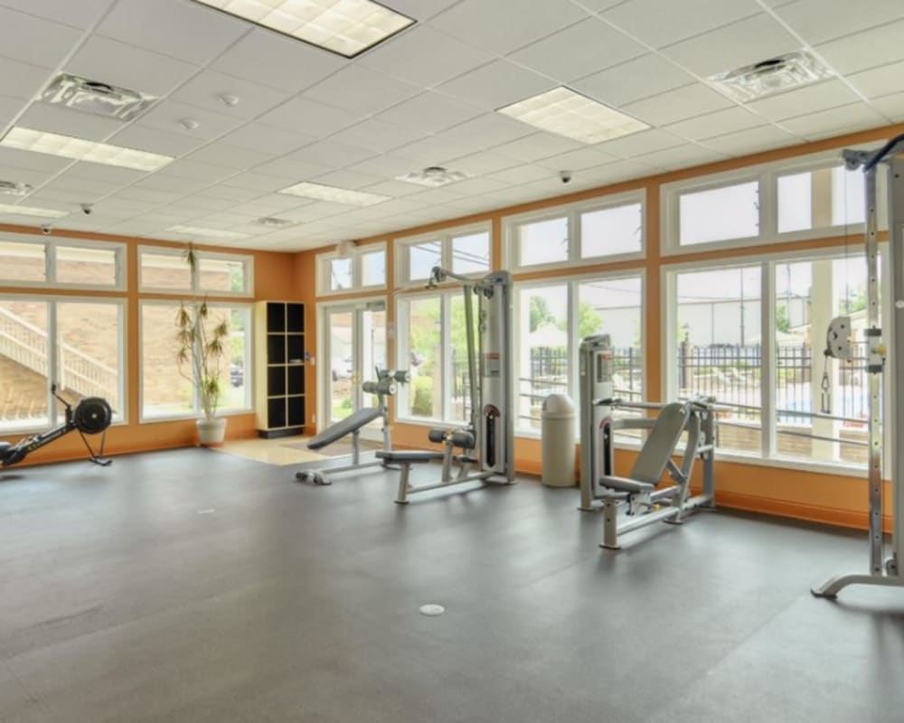 A spacious fitness center near Tanglewood Apartments in Louisville, Kentucky