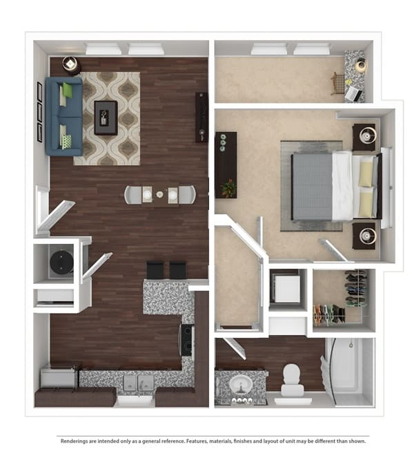 One bedroom floor plan at Integra 360 Apartment Homes in Winter Springs, Florida
