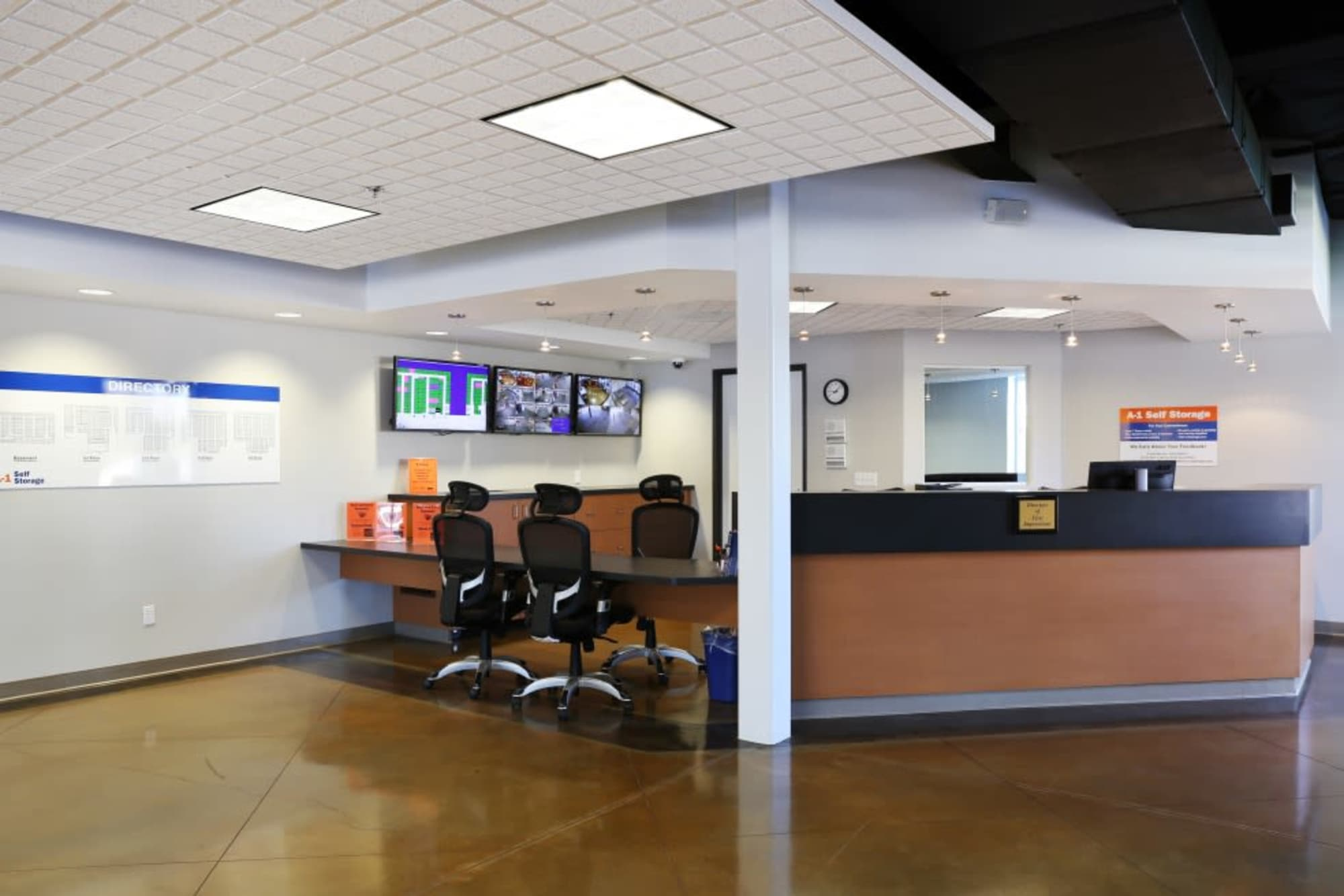 The leasing office at A-1 Self Storage