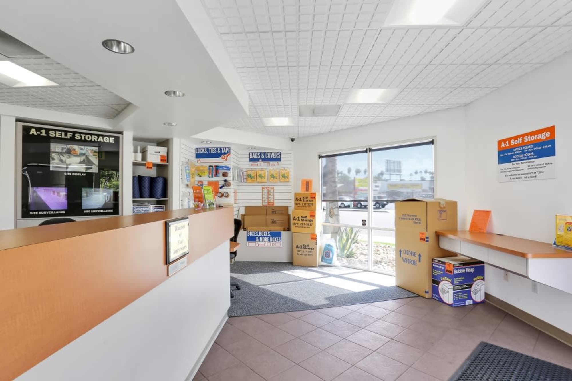 The leasing office and moving supplies at A-1 Self Storage in El Cajon, California