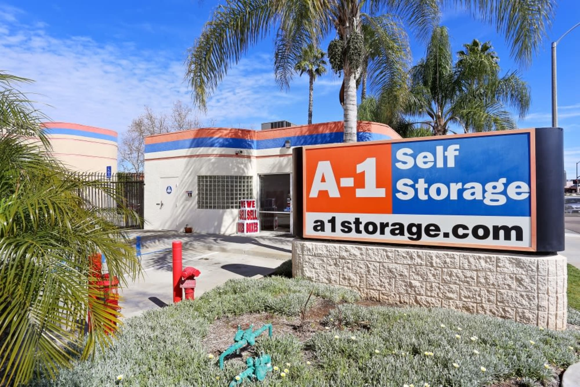 The sign and front entrance to A-1 Self Storage in El Cajon, California