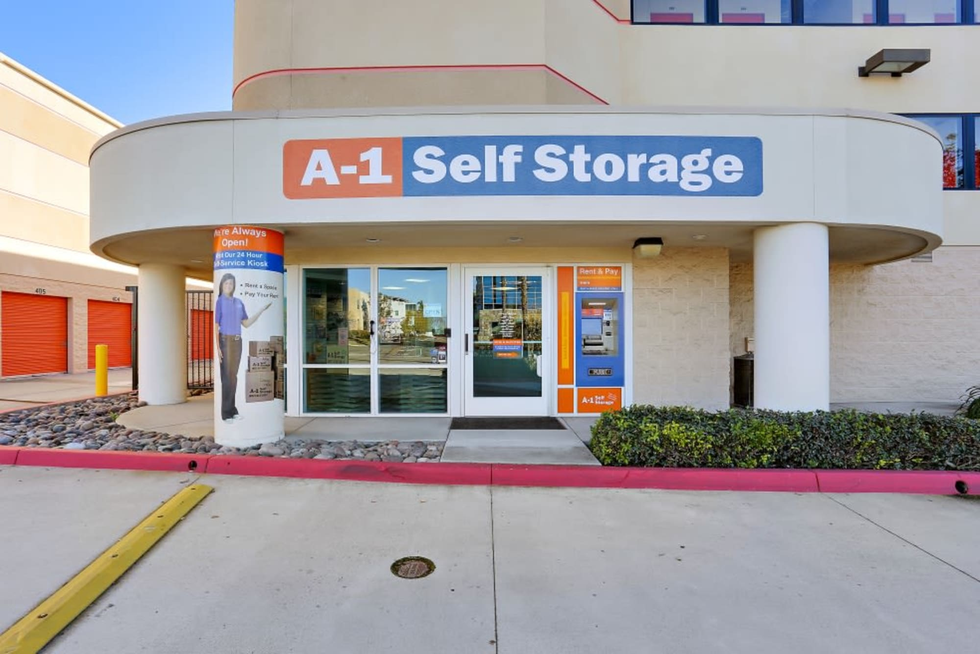 Entrance to the leasing office at A-1 Self Storage in San Diego, California
