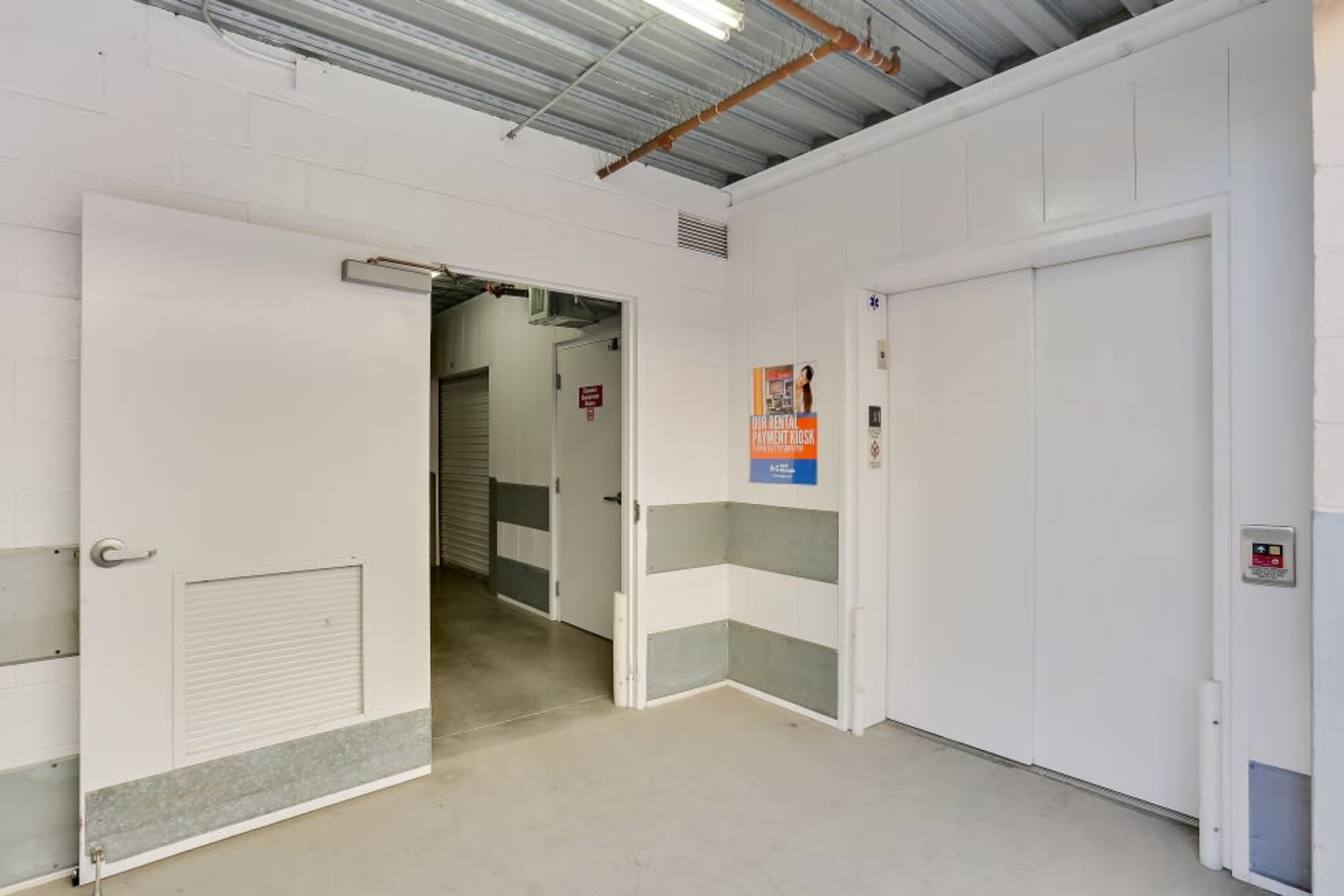 The freight elevator at A-1 Self Storage in San Diego, California