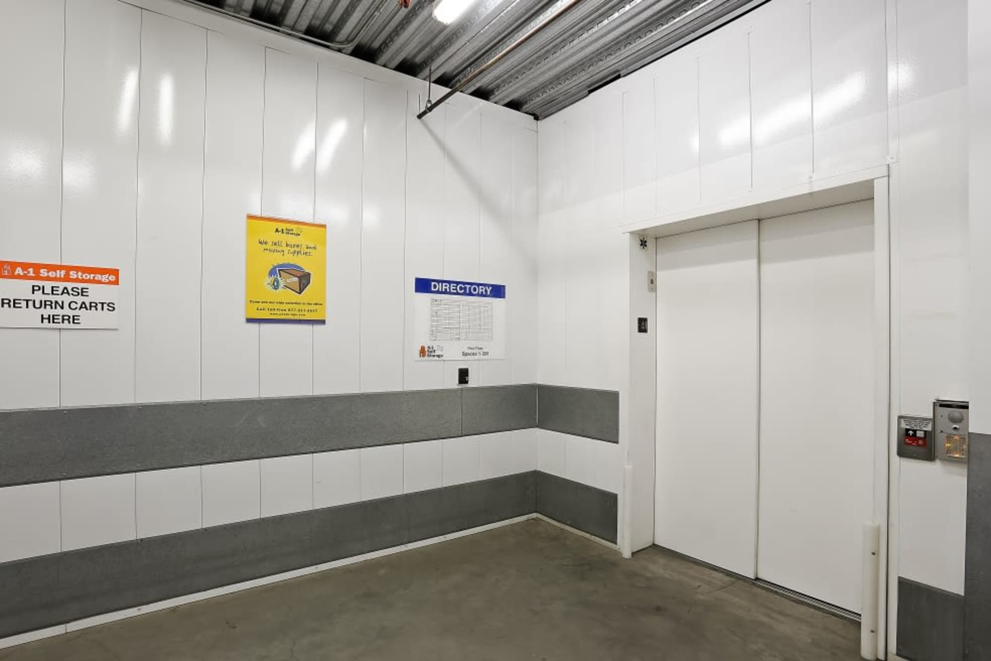 The elevator at A-1 Self Storage in San Diego, California