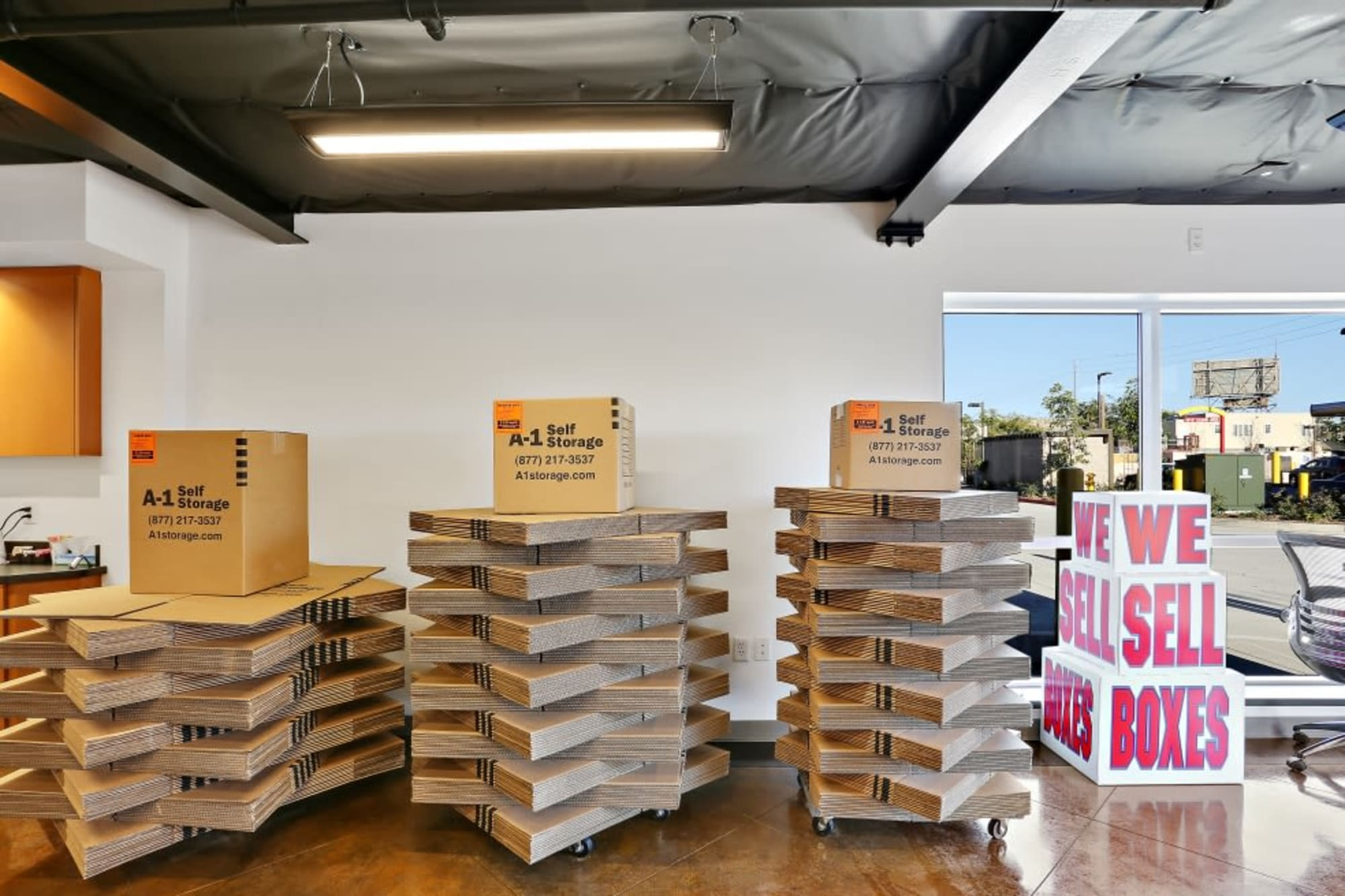 Moving boxes at A-1 Self Storage in San Diego, California