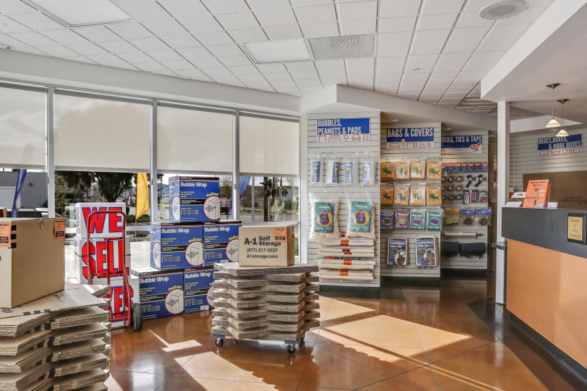 Packing and moving supplies in the office of A-1 Self Storage