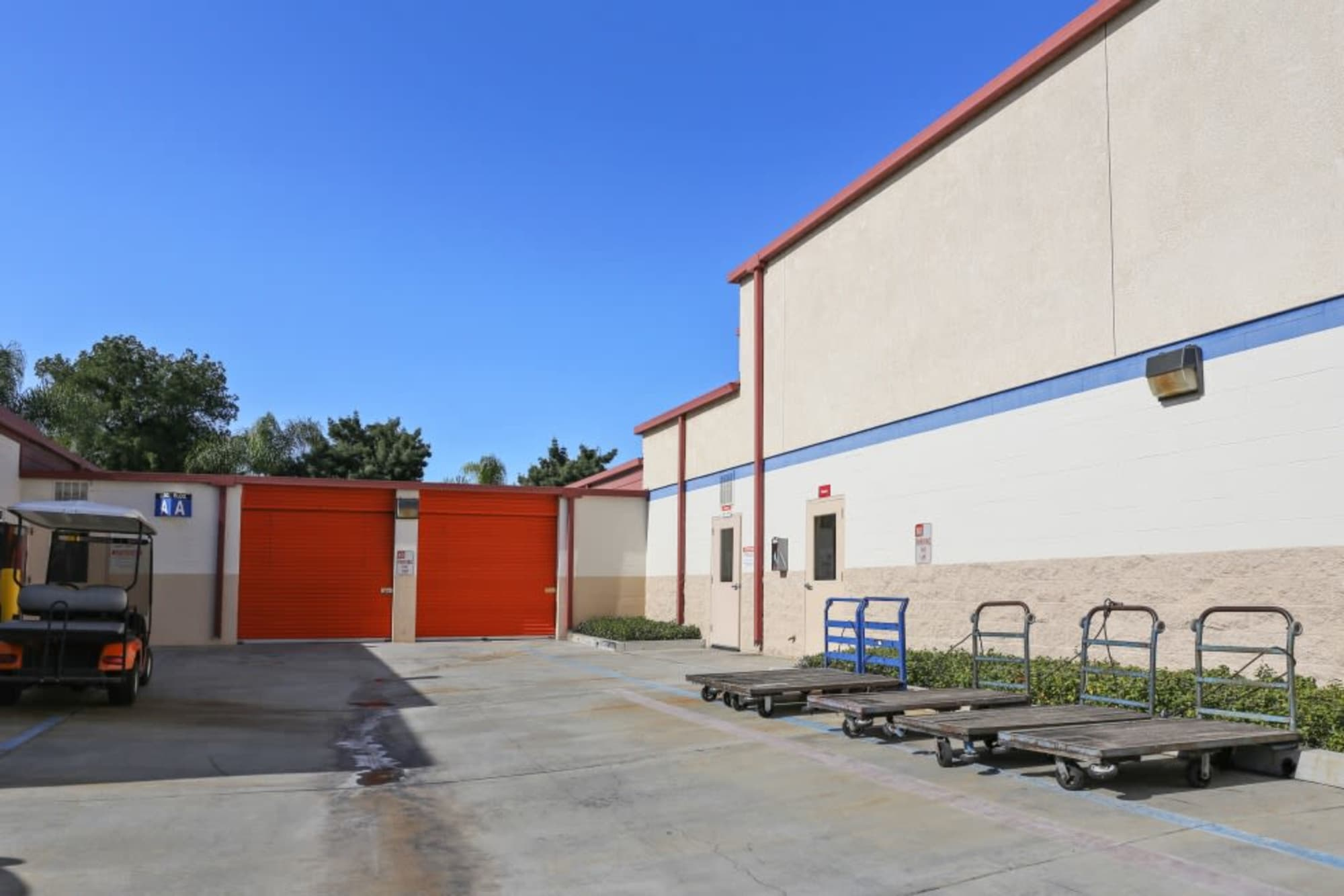 Carts for customers' convenience at A-1 Self Storage in Fullerton, California