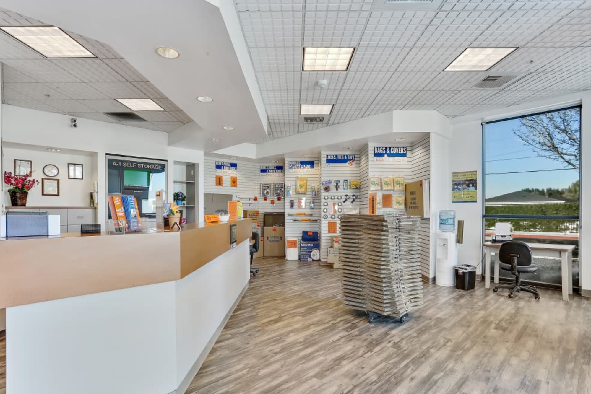 The front office at A-1 Self Storage in Paramount, California