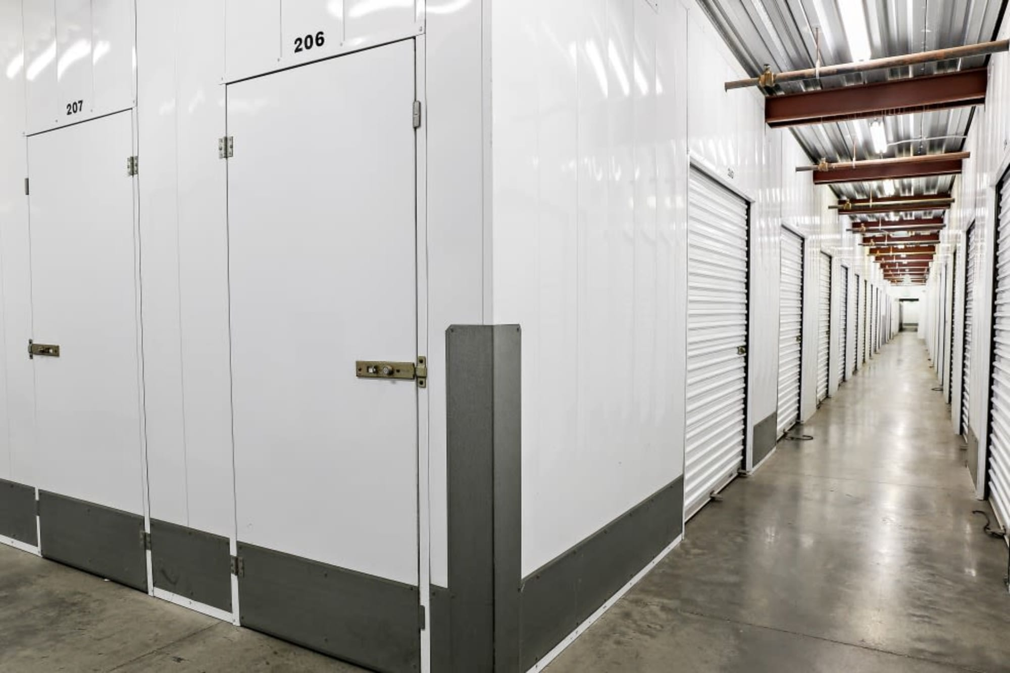 Indoor storage units at A-1 Self Storage in Oakland, California
