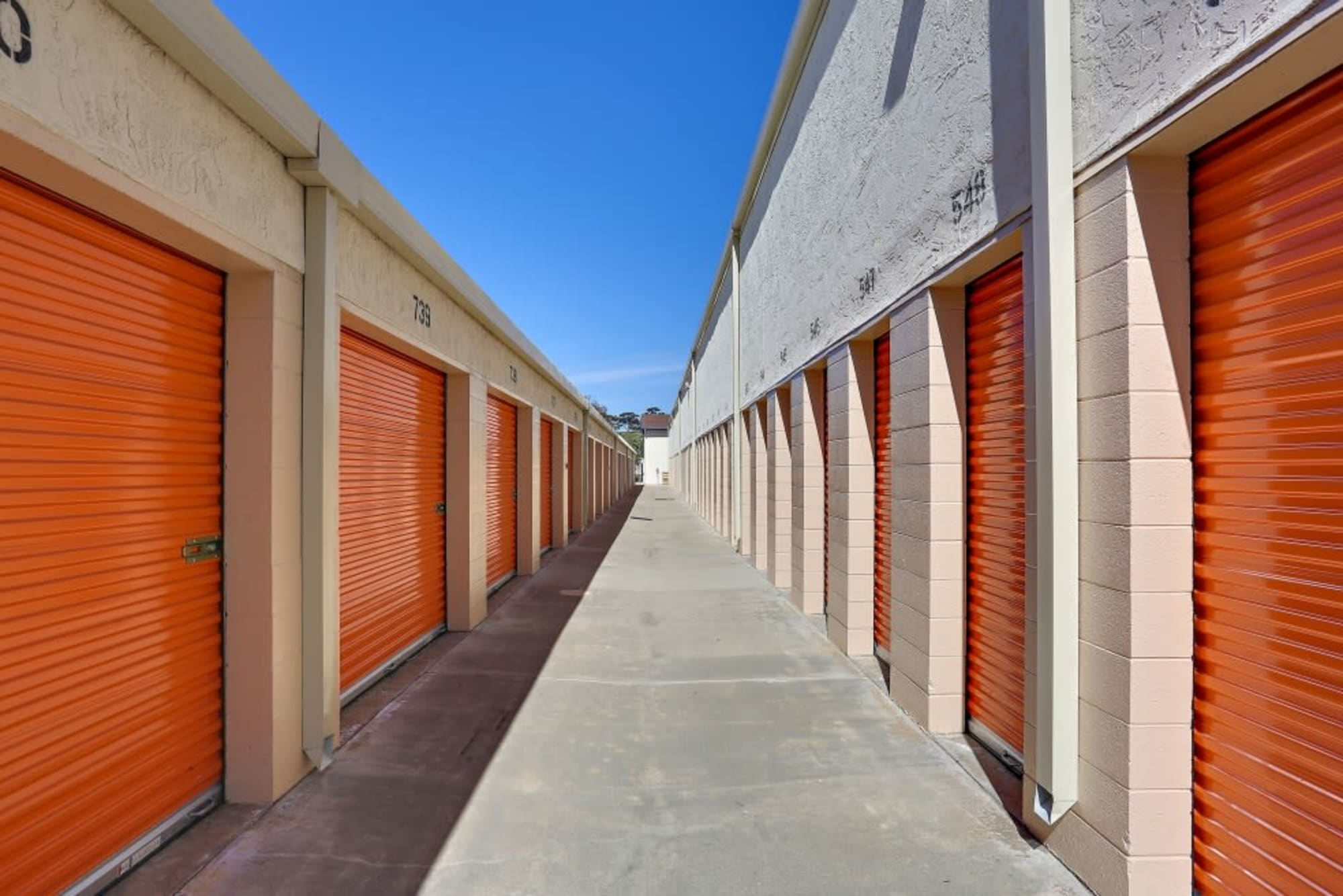 Rows of outside storage units in Oceanside, California