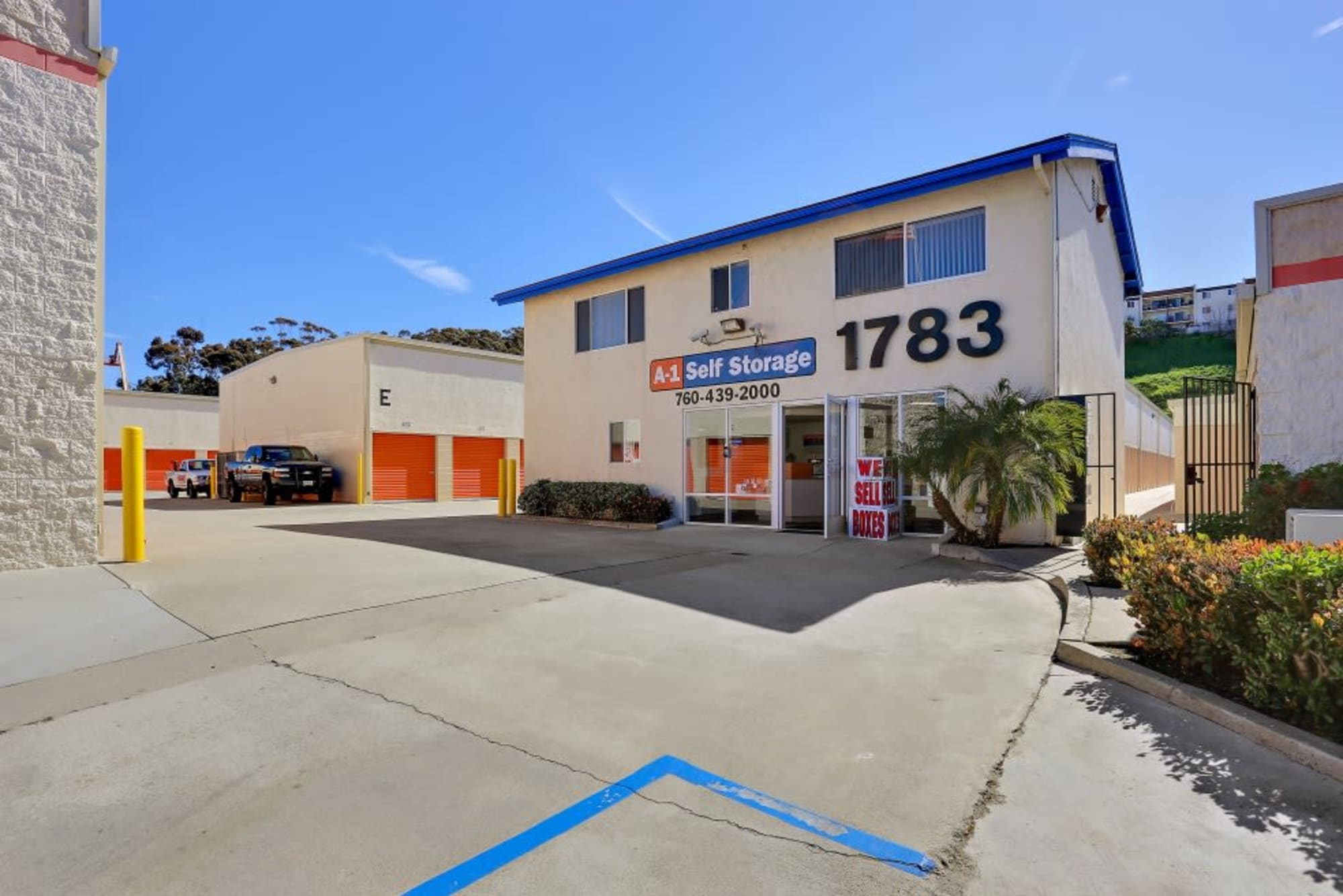 The exterior of our office at A-1 Self Storage in Oceanside, California