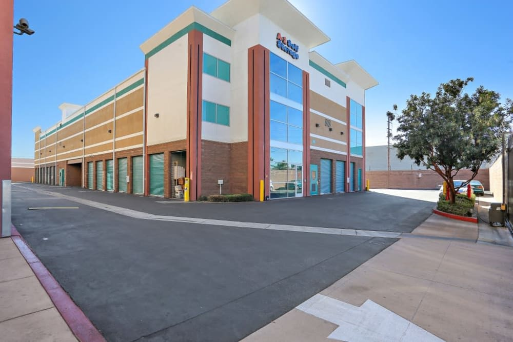 The front entrance to A-1 Self Storage in Bell Gardens, California