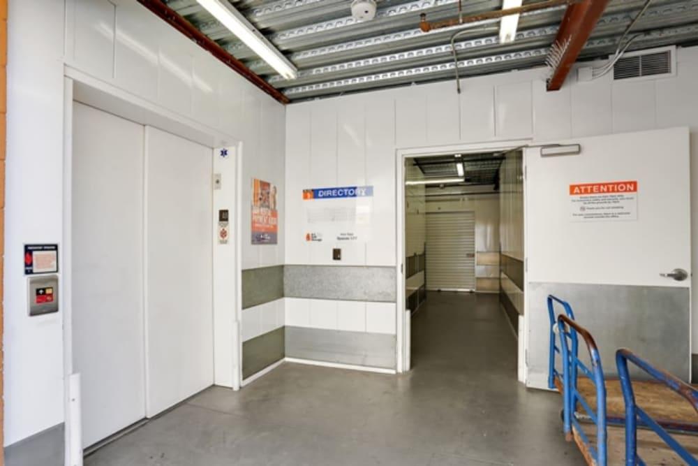 Elevator and push carts make storing easy at A-1 Self Storage in Chula Vista, California