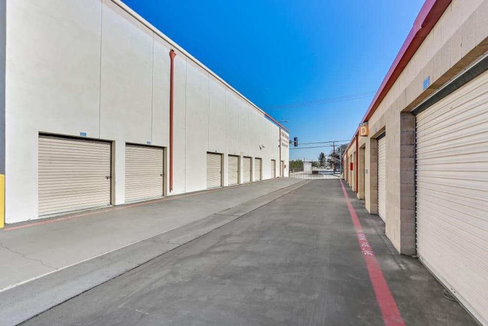 Outdoor storage units at A-1 Self Storage in El Monte, California