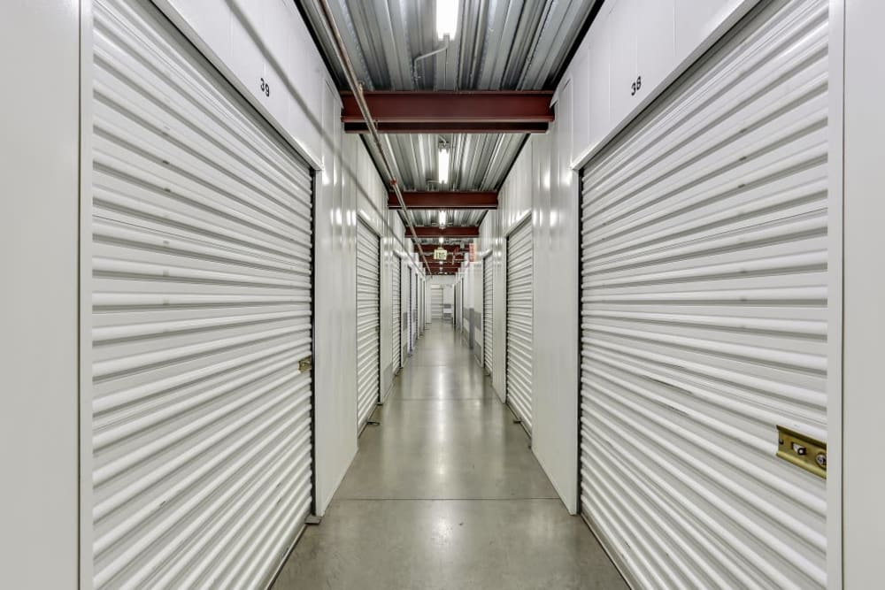A row of indoor storage units at A-1 Self Storage in La Habra, California