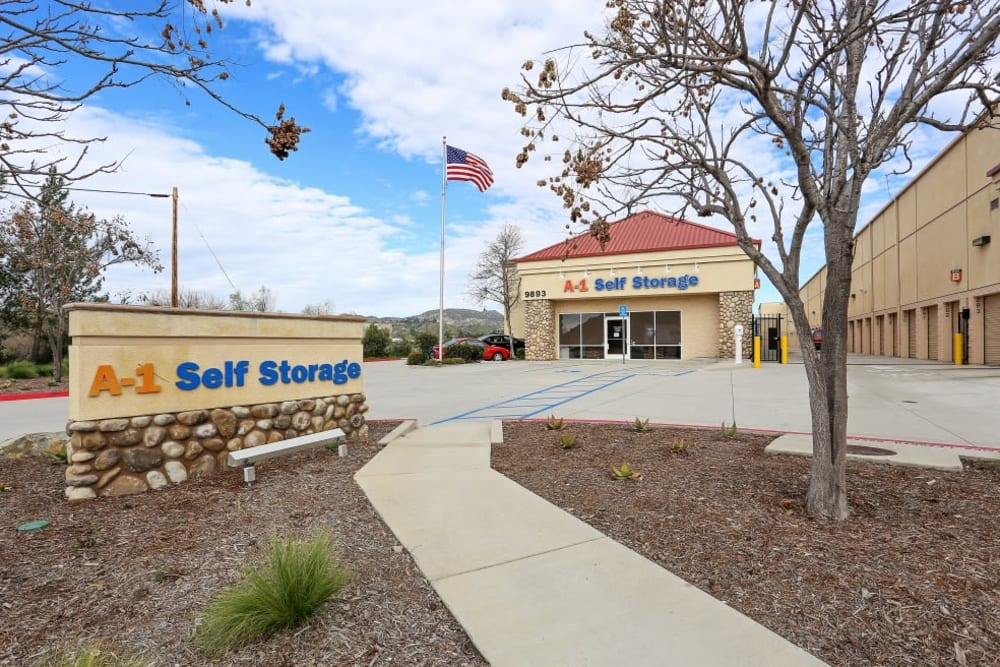 The sign and front entrance to A-1 Self Storage in Lakeside, California