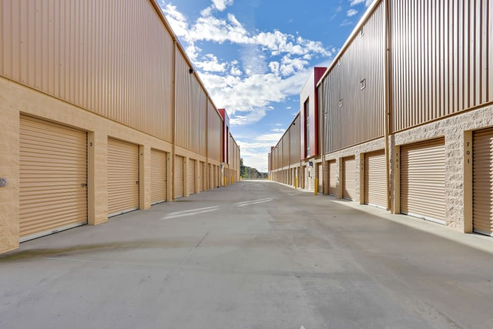 A row of outdoor storage units at A-1 Self Storage in San Diego, California