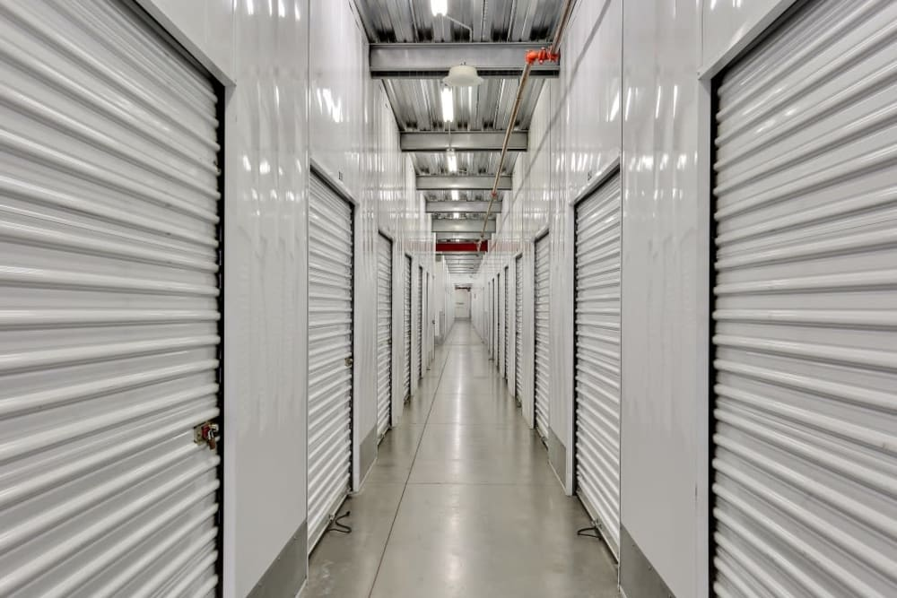 A row of indoor storage units at A-1 Self Storage in Vista, California