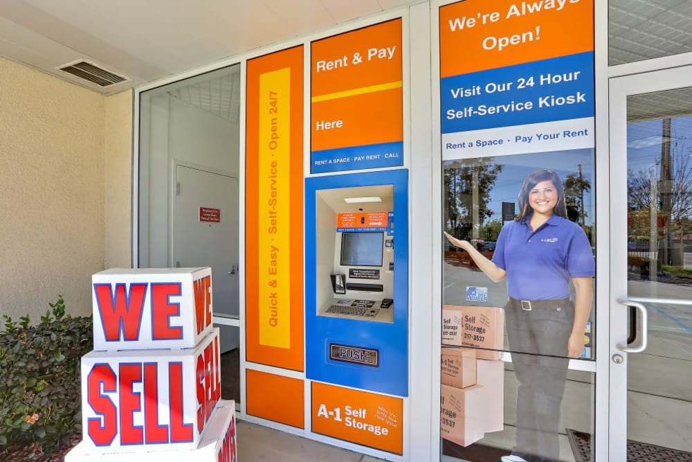 The 24-hour kiosk at A-1 Self Storage in Vista, California
