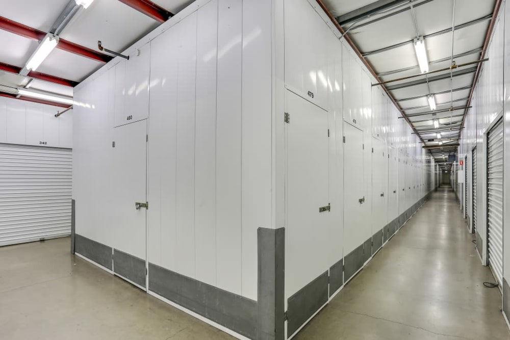 A row of indoor storage units at A-1 Self Storage in Santa Ana, California