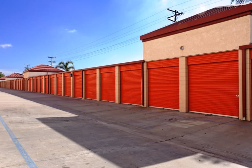 A row of outdoor storage units at A-1 Self Storage in Fullerton, California