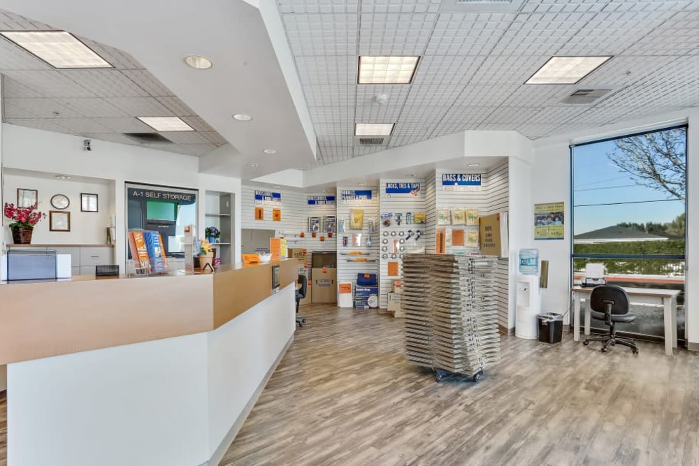 The office at A-1 Self Storage in Paramount, California