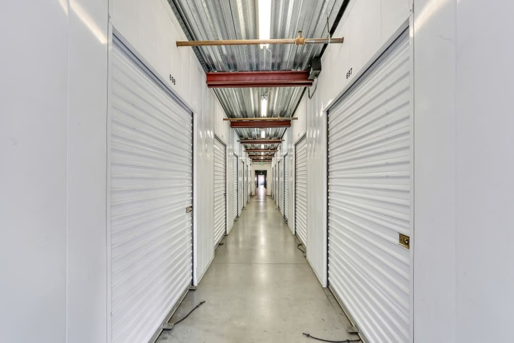 A row of indoor storage units at A-1 Self Storage in Paramount, California