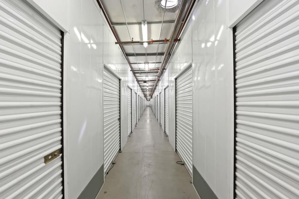 A row of indoor storage units at A-1 Self Storage in La Mesa, California