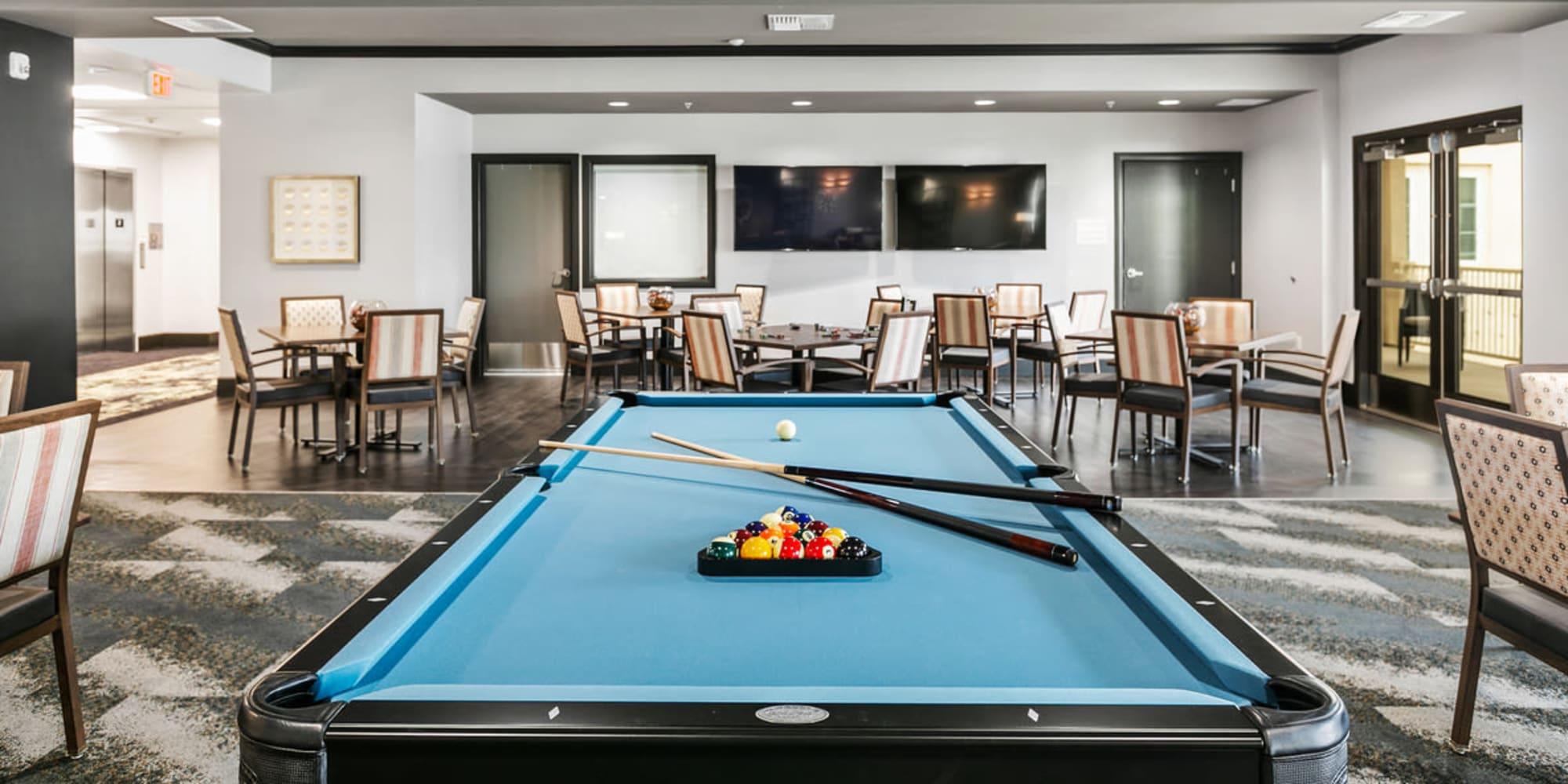 Senior living in Fallbrook, California at Estancia Senior Living Pool Table