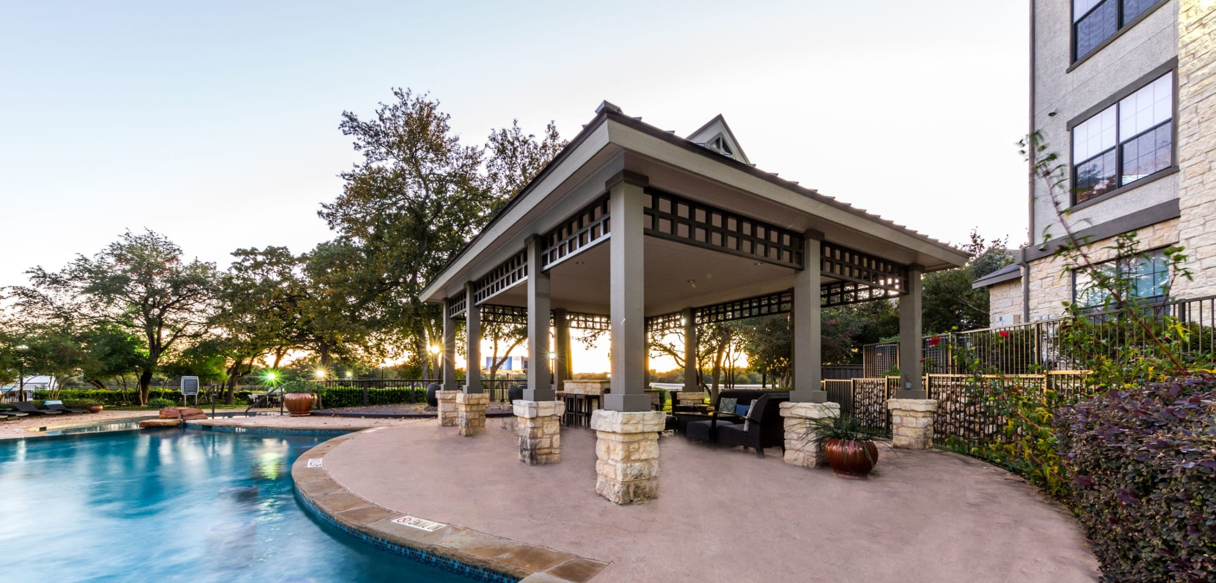 Gazebo next to sparkling pool at The Marquis at Brushy Creek in Austin, Texas