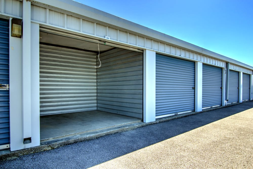 Outdoor storage units at Safe Storage in Nicholasville, Kentucky