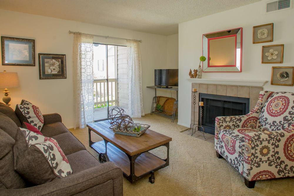 Bright living room at Cedar Glade Apartments in Tulsa, Oklahoma
