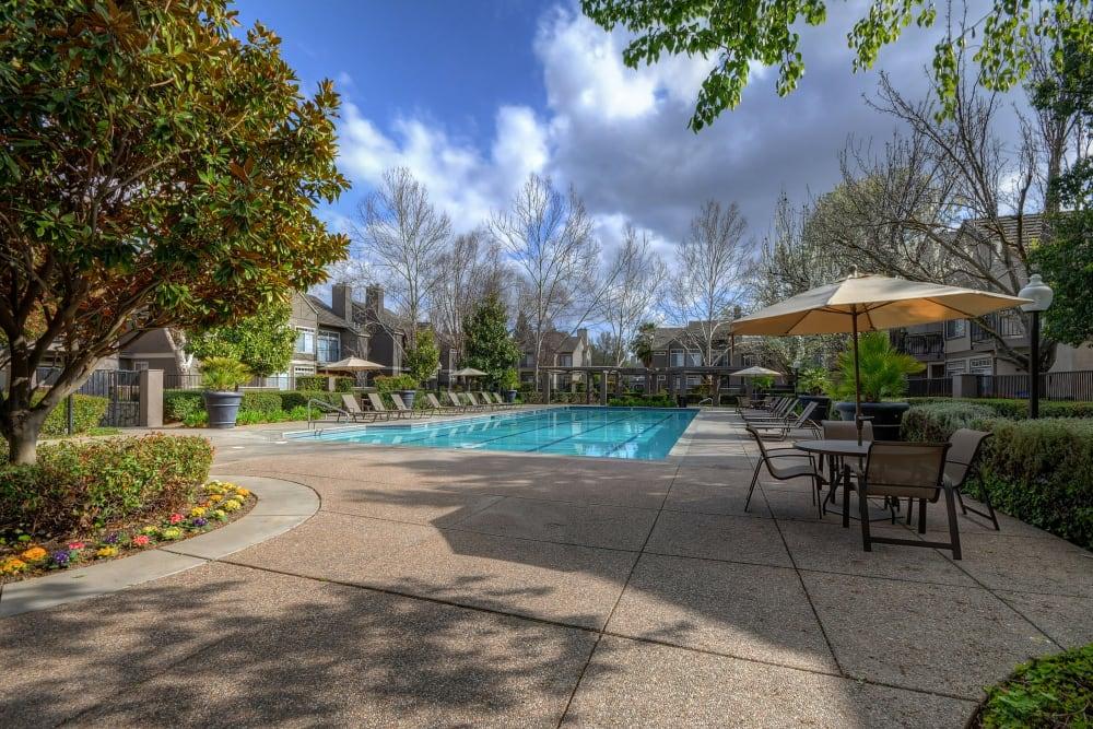 Resort-style swimming pool at Larkspur Woods in Sacramento, California