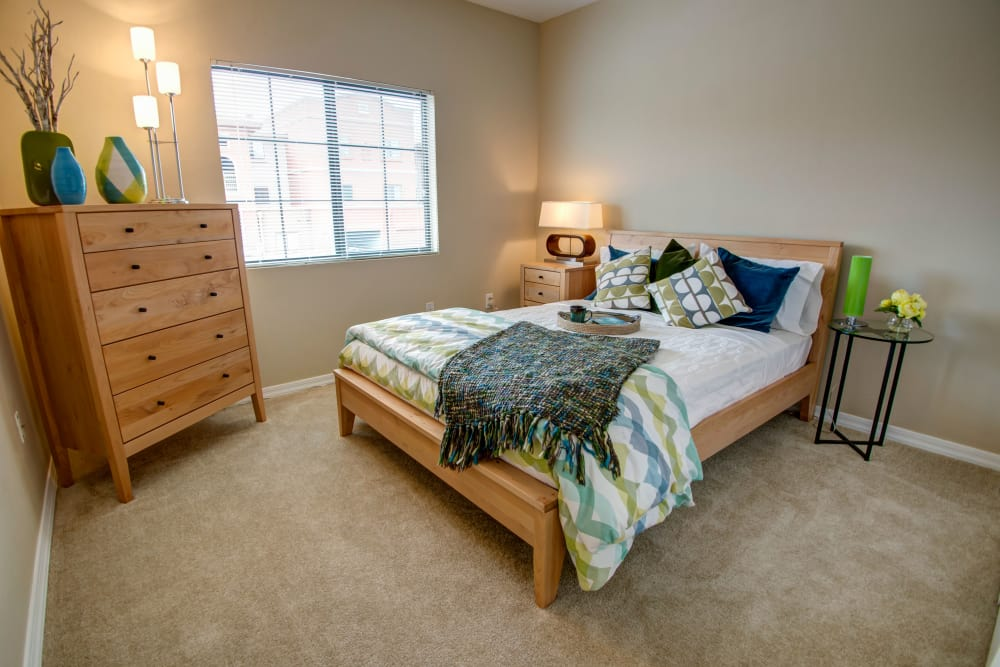 Model bedroom at Oro Vista Apartments in Oro Valley, Arizona
